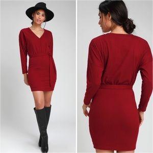 LULUS - ZARIAH WINE RED RIBBED KNIT SWEATER DRESS